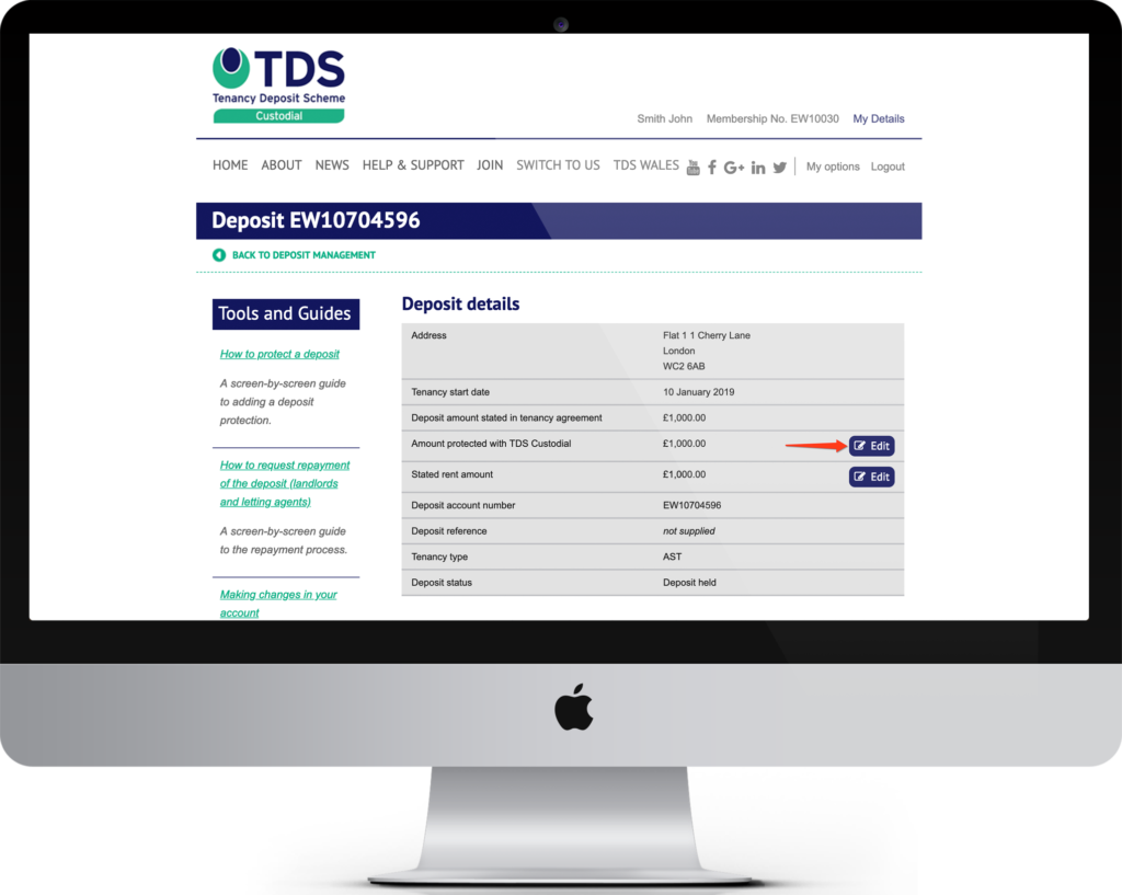 Image of an Apple Mac computer showing the TDS Deposit Details page.
