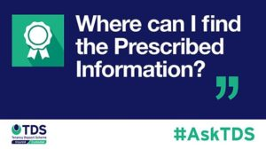 "Image saying ""#AskTDS: Where Can I Find the Prescribed Information?"""
