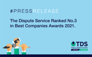 The Dispute Service has been ranked No.3 in the UK's Best 10 Not for Profit companies to work for in the Best Companies Awards 2021.